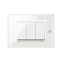 Placca Expì vetro Bianco Neve 3 Moduli Simon Urmet 13003.BN