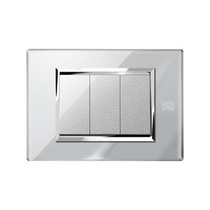 Placca Expì vetro Grigio Opale 3 Moduli Simon Urmet 13003.GO