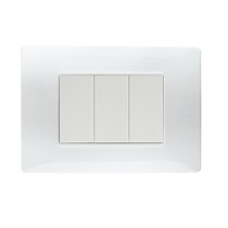 Placca Flexa Tecnopolimero Bianco Ghiacico 3 Moduli Simon Urmet 11803.BG