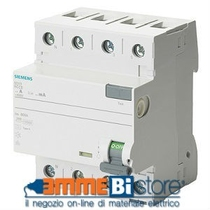 Interruttore Differenziale puro 4P 25A 0,03  Siemens 5SV43420