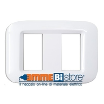 Placca Ave Yes Sistema 45 Tecnopolimero 2 moduli Bianco Banquise 45PY002BB
