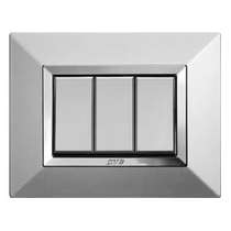 Placca Ave Zama44 Alluminio Naturale 3 posti 44P93ALS
