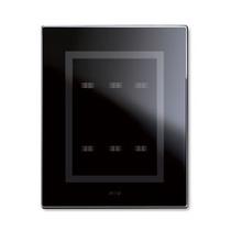 Placca Ave Touch in vetro Nero Assoluto 3+3 comandi - per scatola BL02P - 44PVTC33NAL