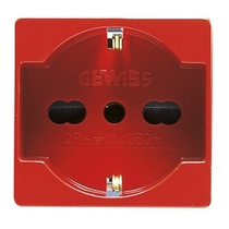 Presa 16A Bivalente Standard Italiano/Tedesco 2 posti Rossa Serie Civili Gewiss System White GW20296