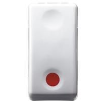 Pulsante Unipolare 10A NC Contatto ausiliare NA Simbolo Rosso- Gewiss System White