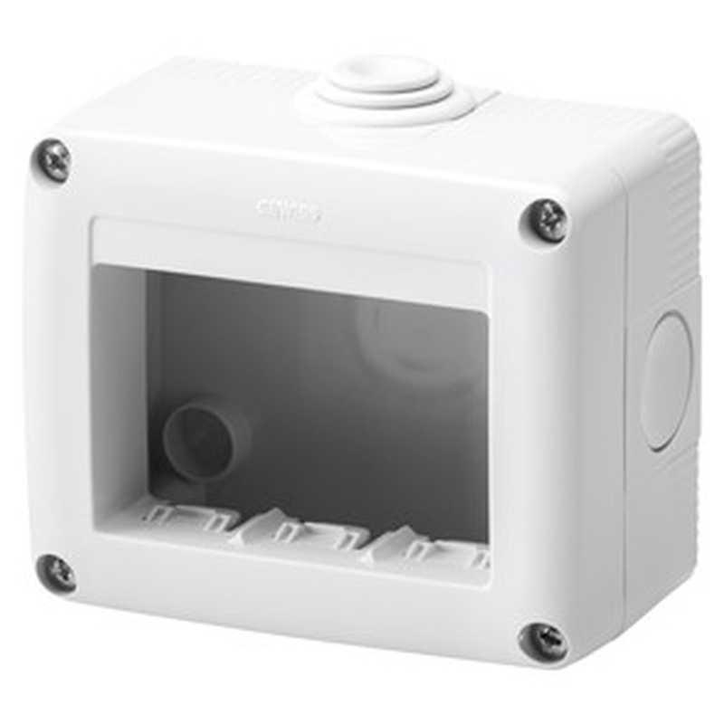 Contenitore orizzontale 3 posti per serie Gewiss System White IP40 Grigio Ral7035 - GW27003