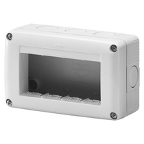 Contenitore orizzontale 4 posti per serie Gewiss System White IP40 Grigio Ral7035 - GW27004