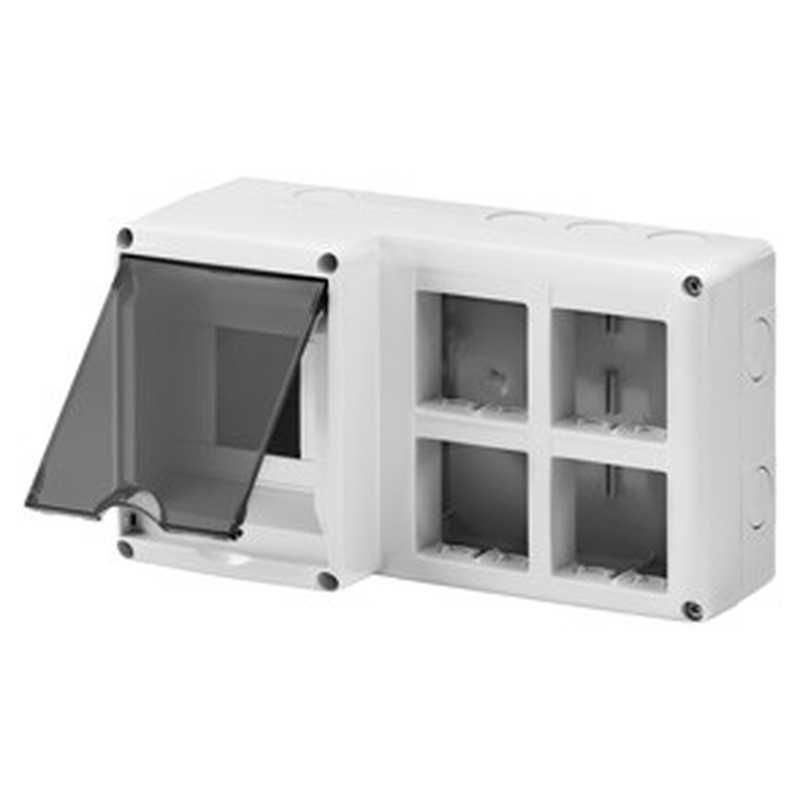 Contenitore per installazione apparecchi modulari 4 moduli DIN e 8 moduli SYSTEM