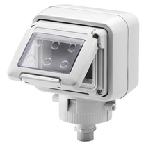 Contenitore orizzontale stagno 3 posti IP55  - Fissaggio Testa Palo - Grigio Ral 7035 - GW27056