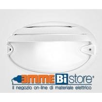 Plafoniera Bianca con griglia E27 IP55 a soffitto e parete Prisma CHIP OVALE 25 GRILL