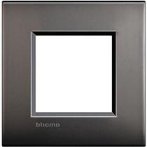 Placca 2 posti quadra nichel satinato LivingLight Air Bticino LNC4802NK