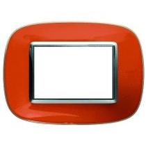 Placca Bticino Axolute HB4803DR 3 moduli Arancio Liquid
