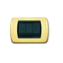 Placca In ottone lucido e satinato a 3 posti  Compatibile con Living International CAL 645