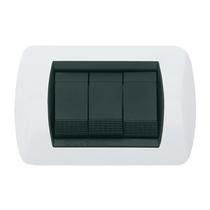 Placca bianco lucido a 3 posti Compatibile con Living International CAL 680