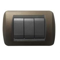 Placca marrone opaco  a 3 posti  Compatibile con Living International CAL 622