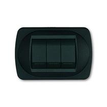 Placca nero goffrato a 3 posti  Compatibile con Living International CAL 340