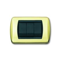 Placca In ottone lucido a 4 posti Compatibile con Living International CAL 640/4