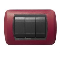 Placca rosso intenso  a 4 posti  Compatibile con Living International CAL 621/4