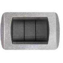 Placca argento glitter  a 4 posti  Compatibile con Living International CAL 623/4