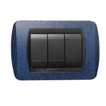 Placca blu glitter  a 4 posti  Compatibile con Living International CAL 624/4