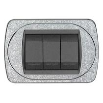 Placca argento glitter a 4 posti  Compatibile con Living International CAL 329/4