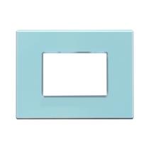 Placca Unika Quattro Posti Compatibile con Bticino Matix Azzurro Pastel Cal UNI303/4