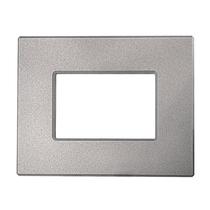 Placca Unika 4 Posti Compatibile con Bticino Matix Argento Silverl Cal UNI306/4