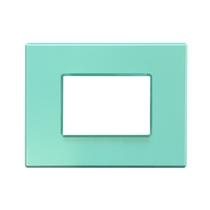 Placca Unika Quattro posti Compatibile con Bticino Axolute Verde acqua Pastel Cal UNI405/4