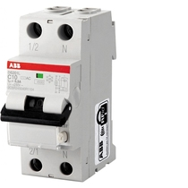 Magnetotermico differenziale 4,5kA 1 Polo+N Tipo AC C10 30ma ABB DS1LC10AC30