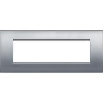 Placca 7 posti quadra cromo spazzolato LivingLight Air Bticino LNC4807CRS