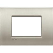 Placca 3 posti quadra titanio spazzolato LivingLight Air Bticino LNC4803TIS