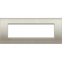 Placca 7 posti quadra titanio spazzolato LivingLight Air Bticino LNC4807TIS