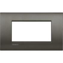 Placca 4 posti quadra nichel spazzolato LivingLight Air Bticino LNC4804NIS