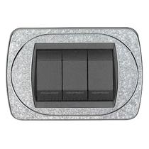 Placca argento glitter a 7 posti  Compatibile con Living International CAL 329/7