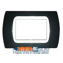Placca Antracite Metallizzata 3 posti per Bticino Living e Light con adattatore Bianco Cal