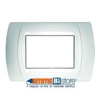 Placca Bianca 3 posti per Bticino LivingLight con adattatore Bianco Cal