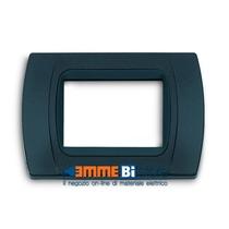 Placca Antracite Metallizzata 3 posti per Bticino LivingLight con adattatore Nero Cal
