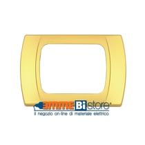 Placca Oro Opaco 3 posti per Bticino LivingLight con adattatore Bianco Cal