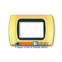 Placca Oro Opaco 3 posti per Bticino LivingLight con adattatore Nero Cal