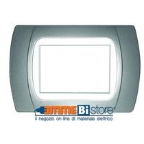 Placca Cromo Opaco 3 posti per Bticino LivingLight con adattatore Bianco Cal