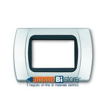 Placca Cromo Opaco 3 posti per Bticino LivingLight con adattatore Nero Cal