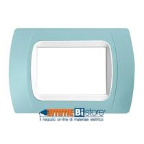 Placca Azzurro 3 posti per LivingLight con adattatore Bianco Cal