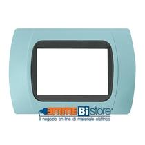 Placca Azzurro 3 posti per LivingLight con adattatore Nero Cal