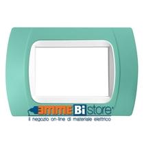 Placca Verde 3 posti per LivingLight con adattatore Bianco Cal