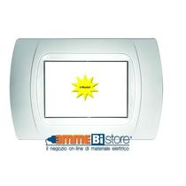 Placca Bianca 4 posti per Bticino LivingLight con adattatore Bianco Cal
