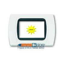 Placca Bianca 4 posti per Bticino LivingLight con adattatore Nero Cal