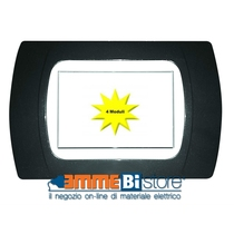 Placca Antracite Metallizzata 4 posti per Bticino LivingLight con adattatore Bianco Cal