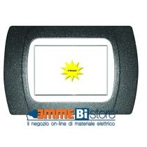 Placca Grigio Ardesia 4 posti per Bticino LivingLight con adattatore Bianco Cal