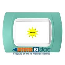 Placca Verde 4 posti per LivingLight con adattatore Bianco Cal