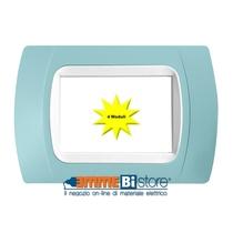 Placca Azzurro 4 posti per LivingLight con adattatore Bianco Cal